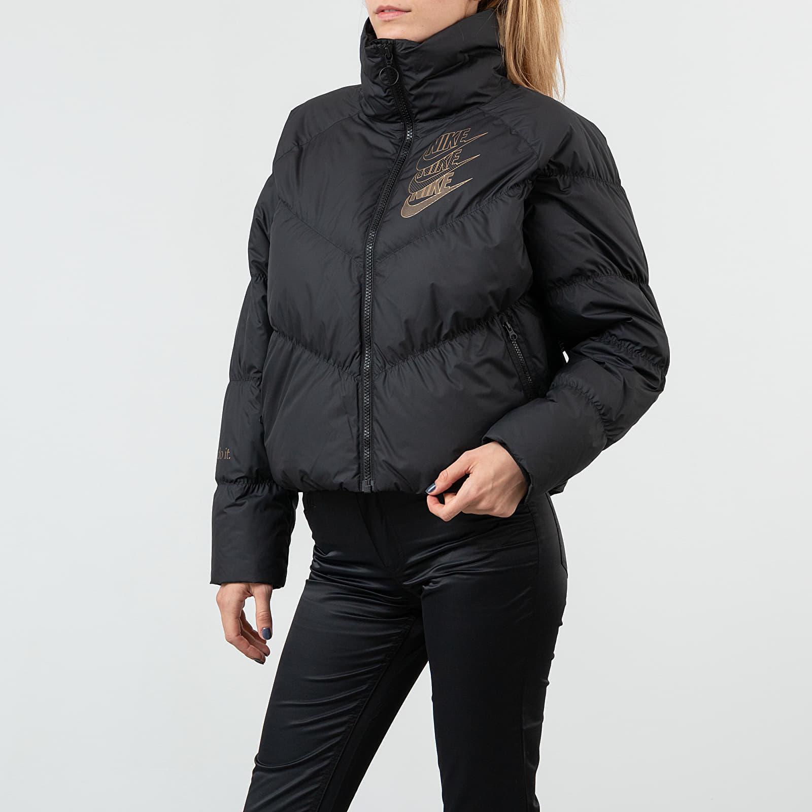Nike Sportswear Down Fill Statement Shine Jacket Black Black Metallic Gold | Footshop