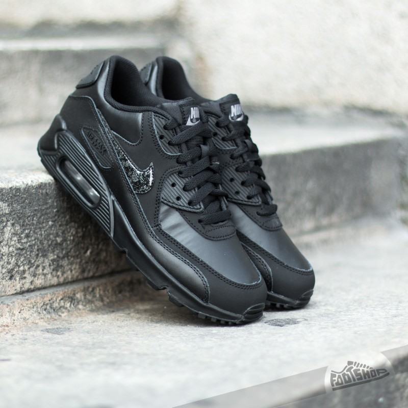 93e40cd7892 Nike Air Max 90 Leather (GS) Black  Cool Grey