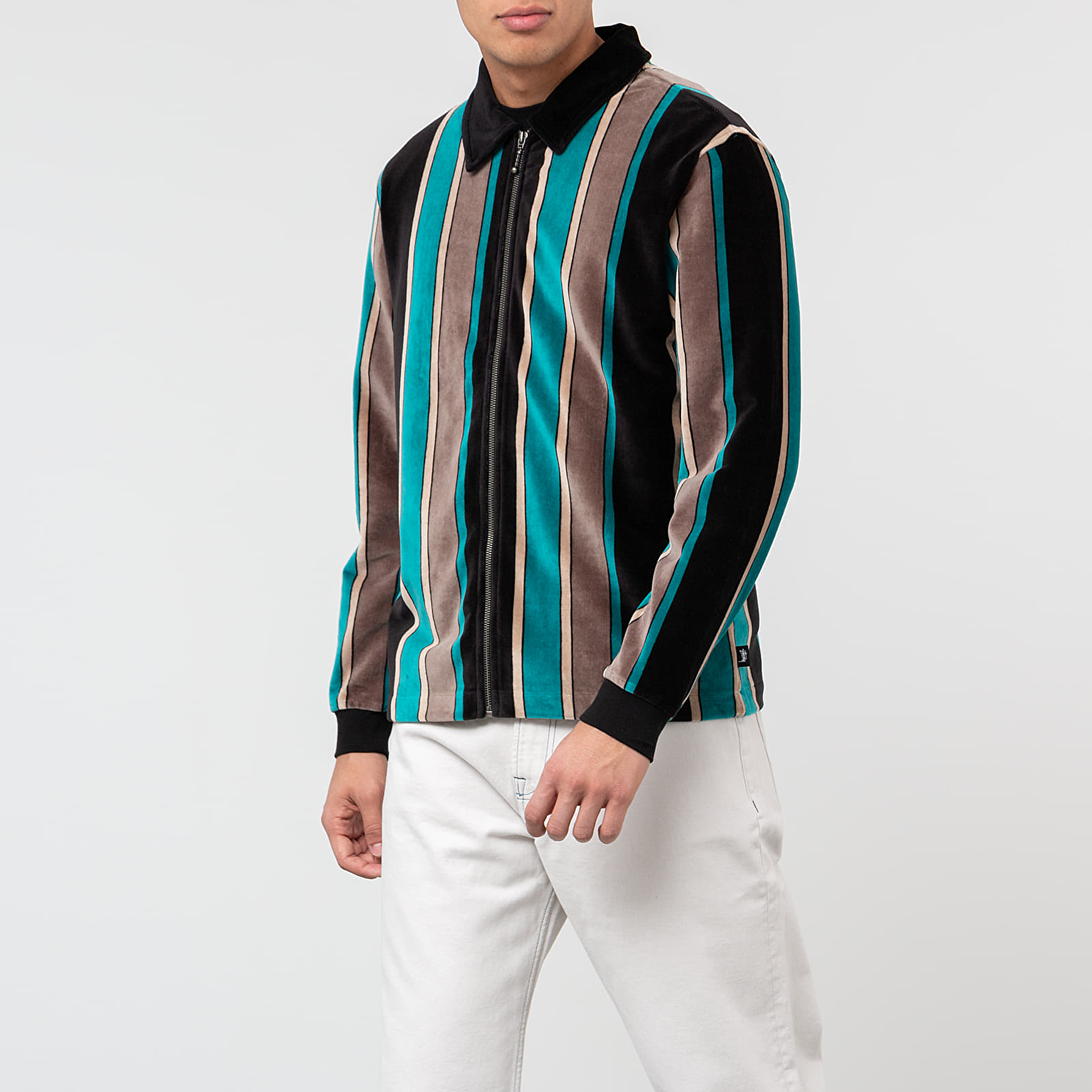 Stüssy Roland Stripe Long Sleeve Full Zip Shirt