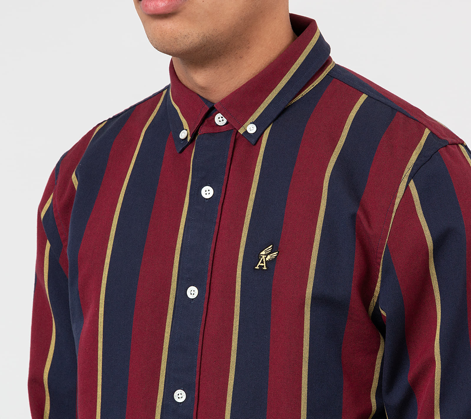 Aimé Leon Dore Striped A-Wing Oxford Shirt Red Wine