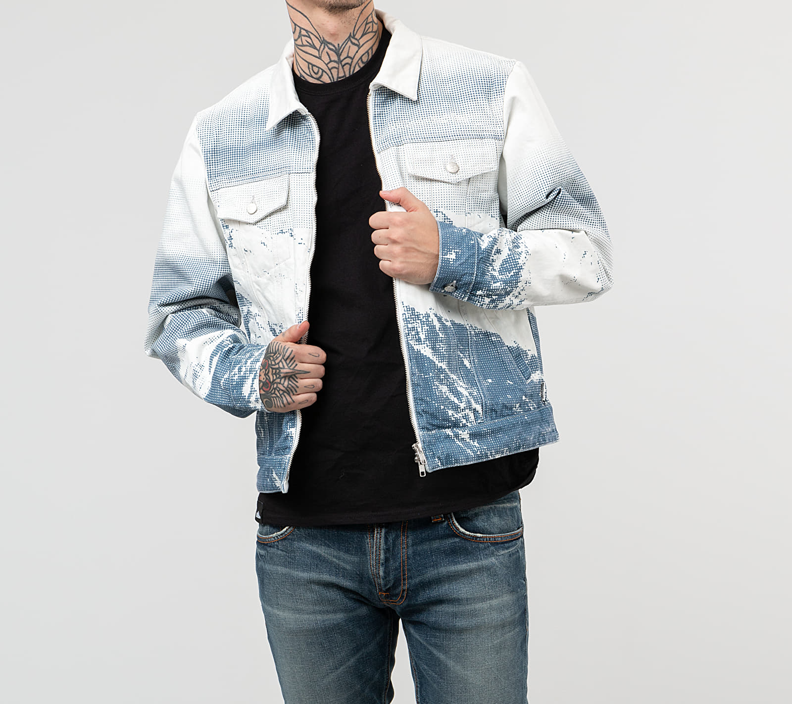 Billionaire Boys Club Zip Denim Jacket White, Blue