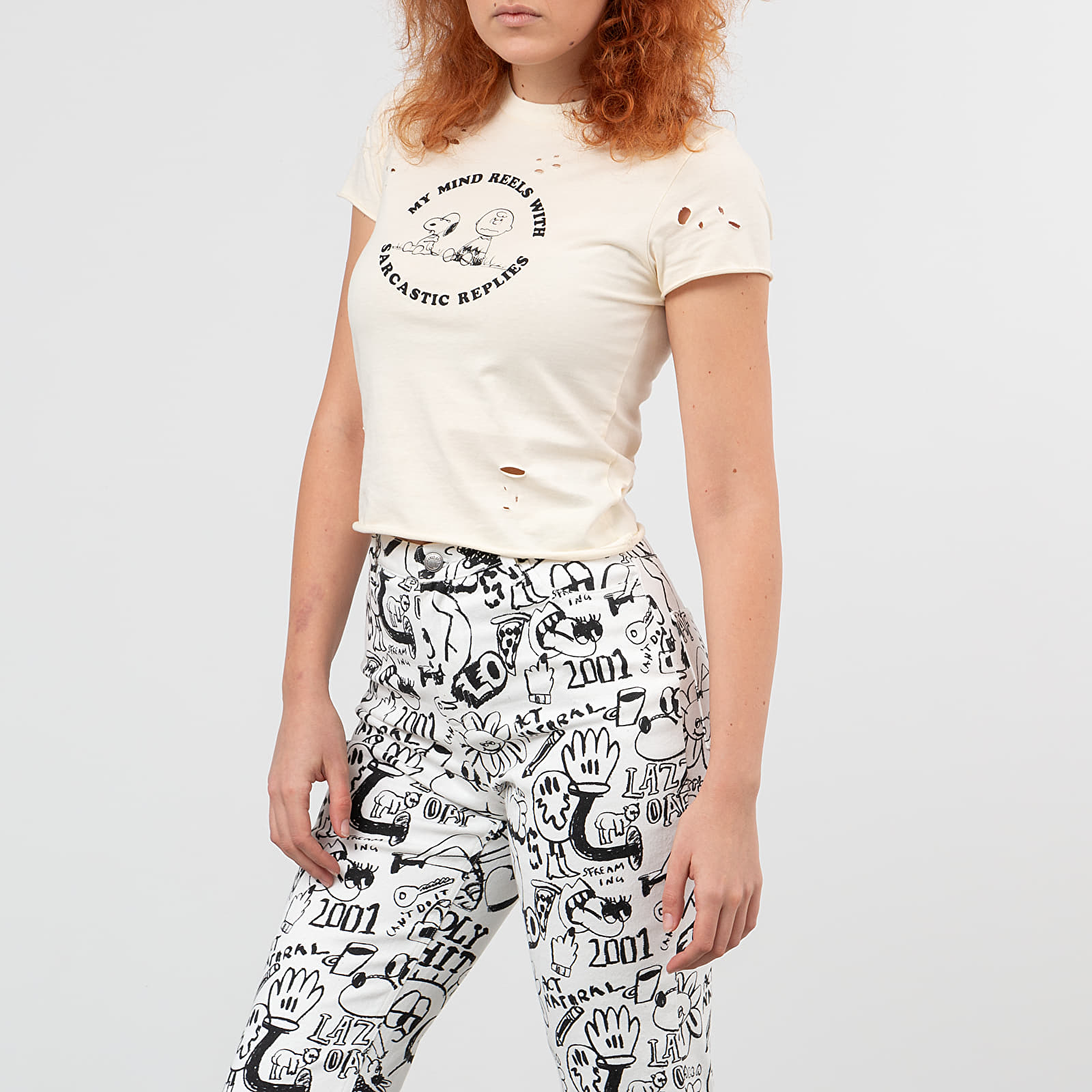 Magliette Lazy Oaf x Peanuts Fitted Tee Cream White