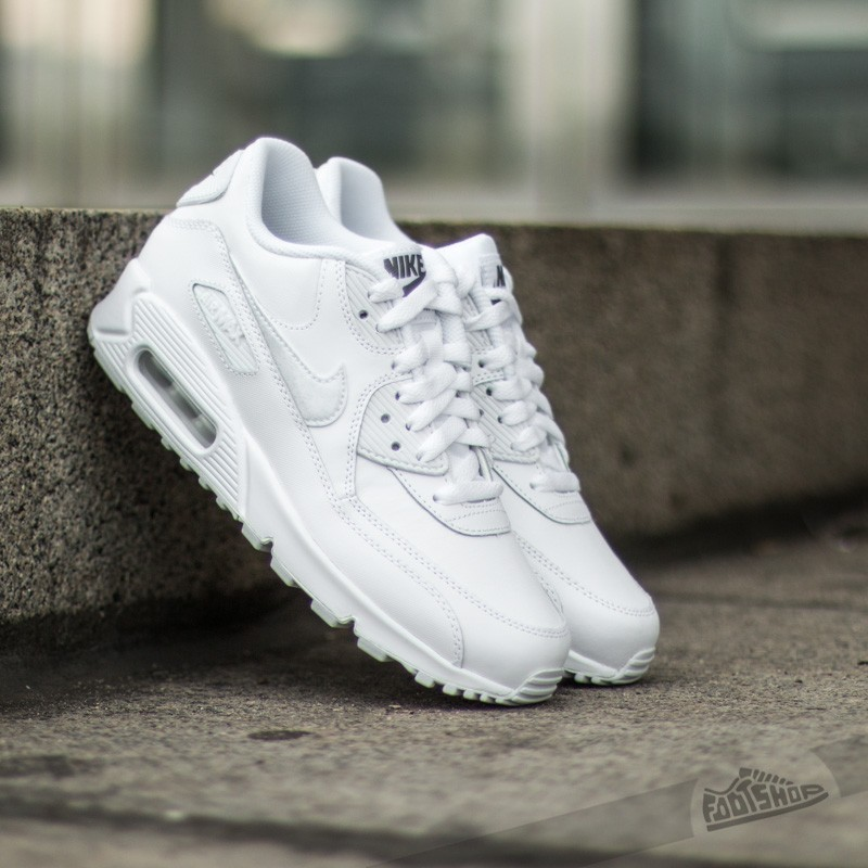 Nike Air Max 90 Leather (GS) White  Cool Grey  c579822cd22