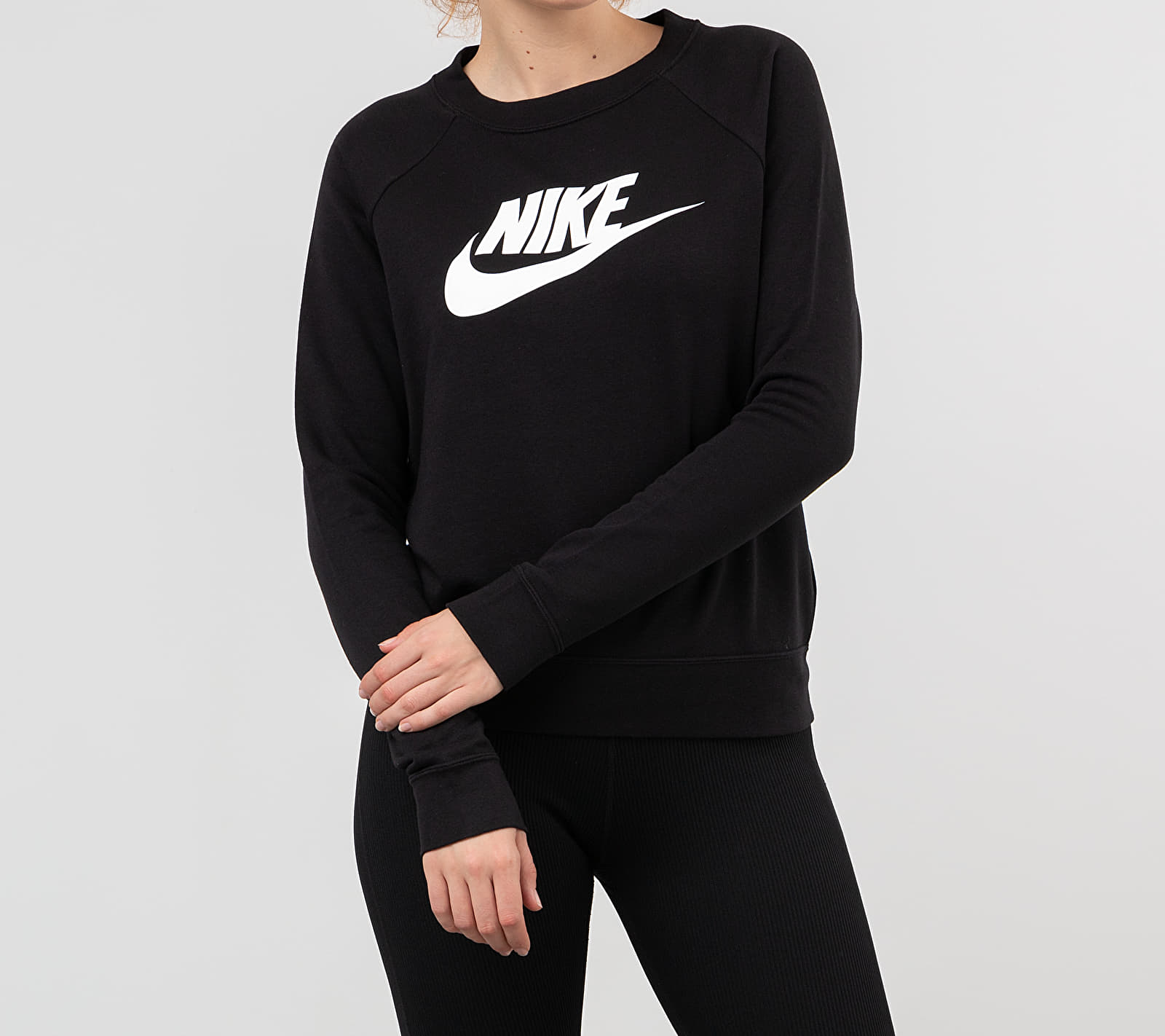 Nike Sportswear Essential Hybrid Crewneck Black/ White