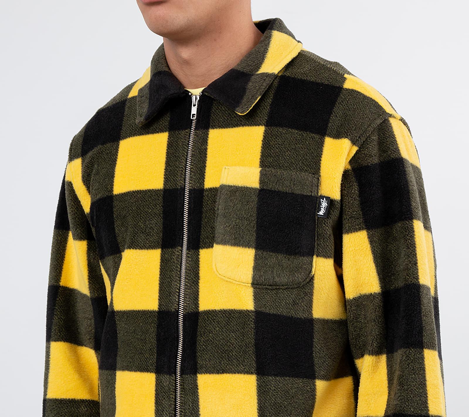Stüssy Polar Fleece Zip Up Shirt Yellow Check
