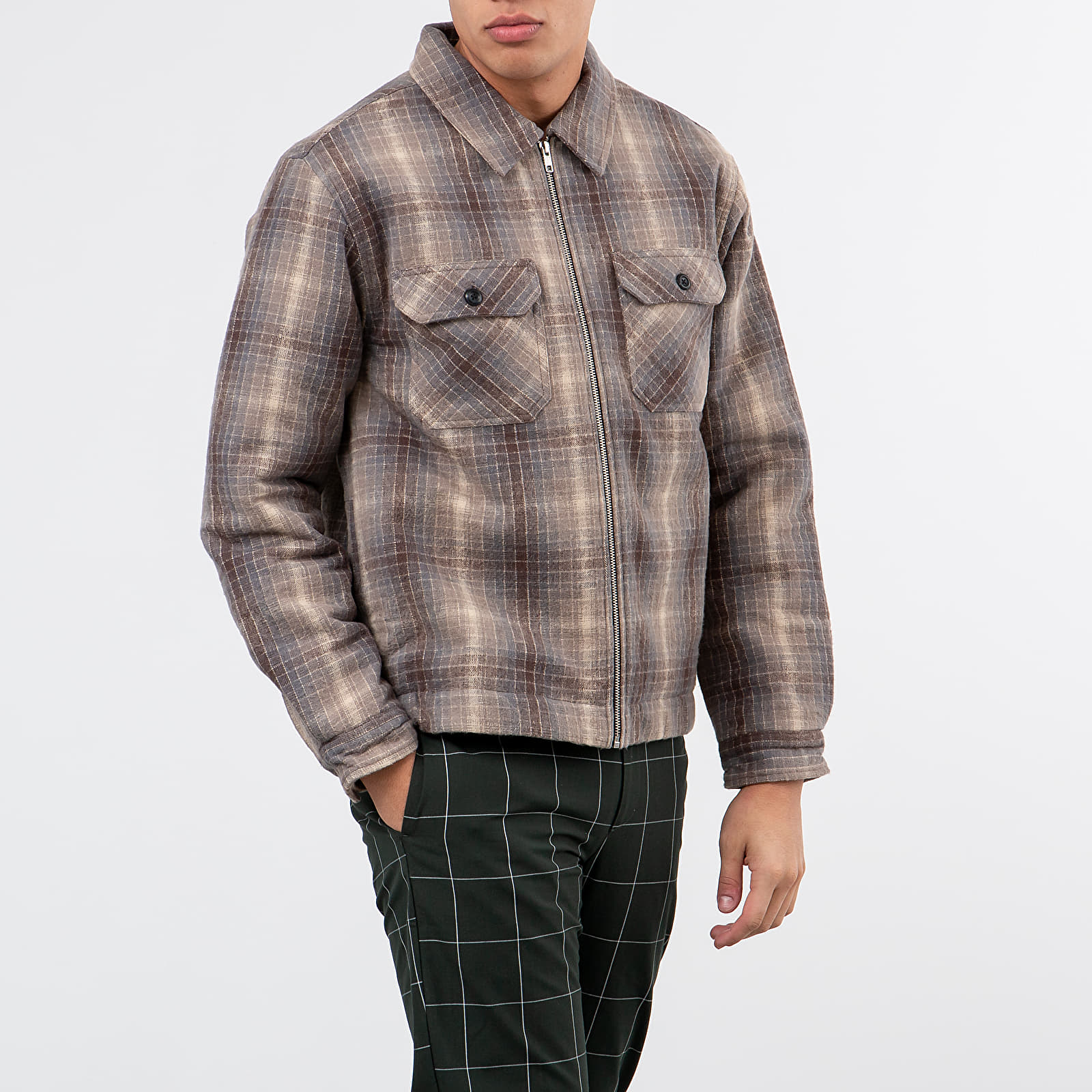 Stüssy Heavy Brush Plaid Zip Up Shirt Jacket