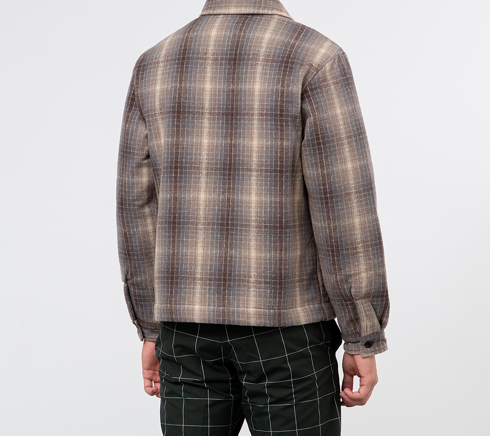 Stüssy Heavy Brush Plaid Zip Up Shirt Jacket Grey, Brown