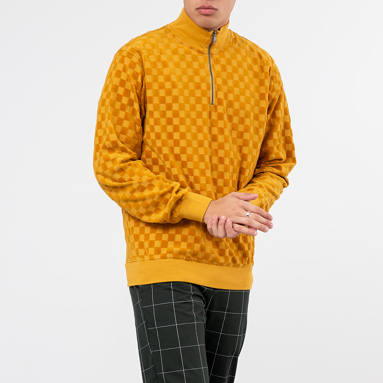 Trička Stüssy Check Long Sleeve Zip Mock Tee Mustard