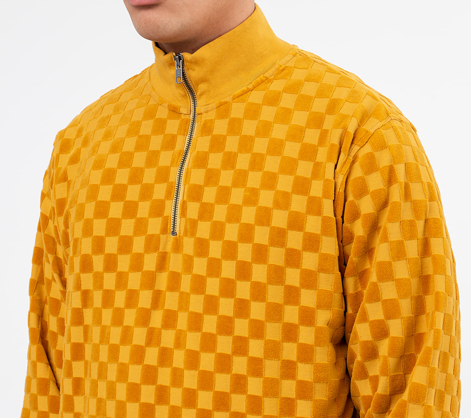 Stüssy Check Long Sleeve Zip Mock Tee Mustard, Yellow