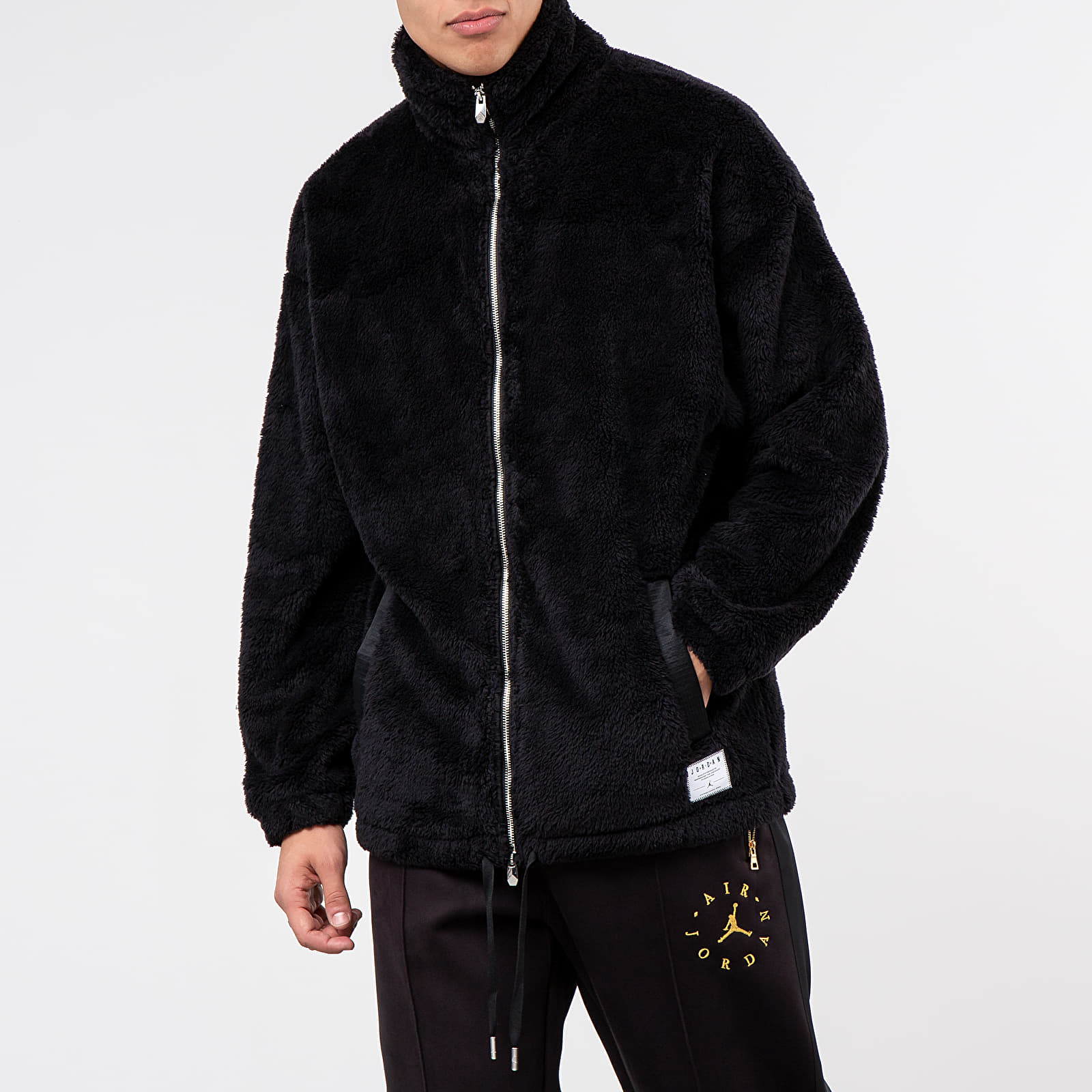 Jordan Black Cat Sherpa Coaches Jacket