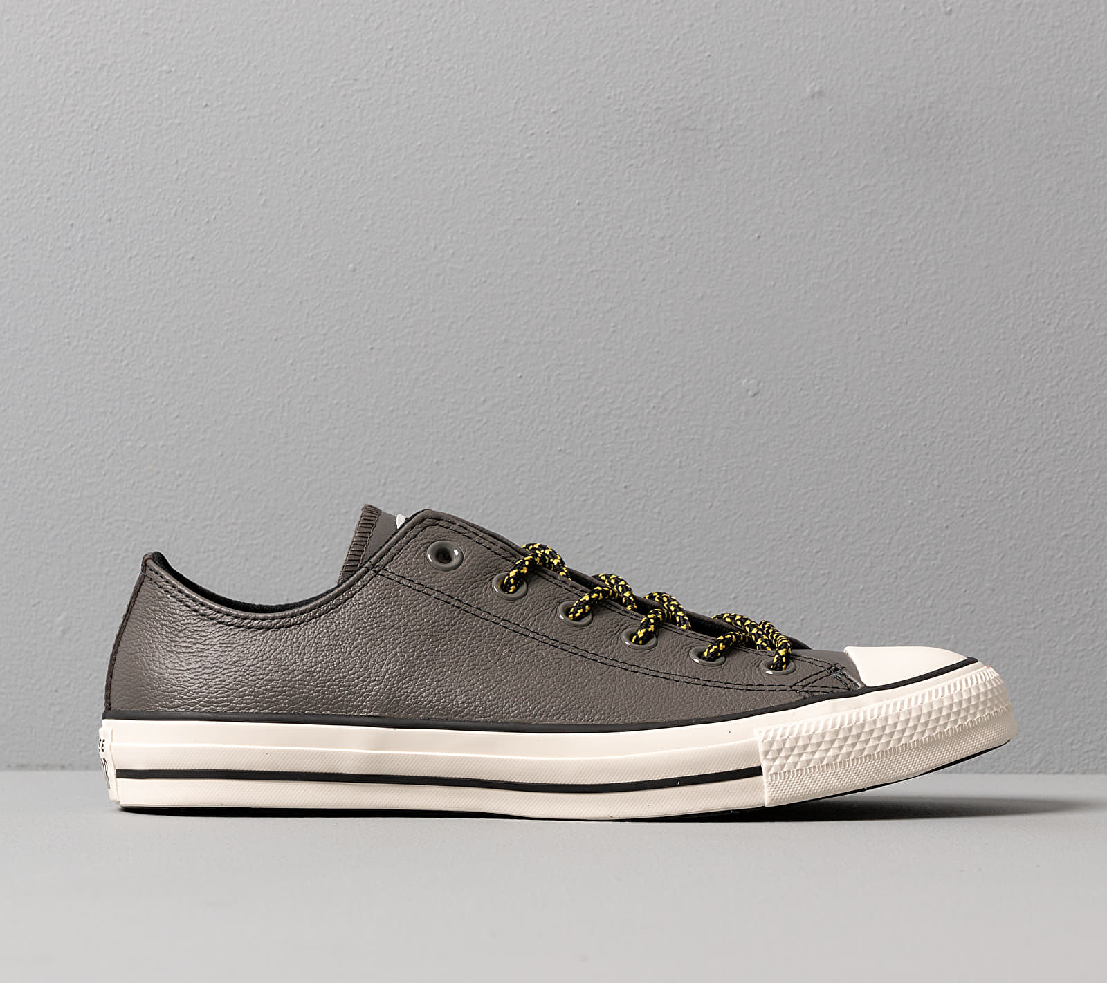 Converse Chuck Taylor All Star Archival Leather Carbon Grey/ Vivid Sulfur/ Egret, Gray