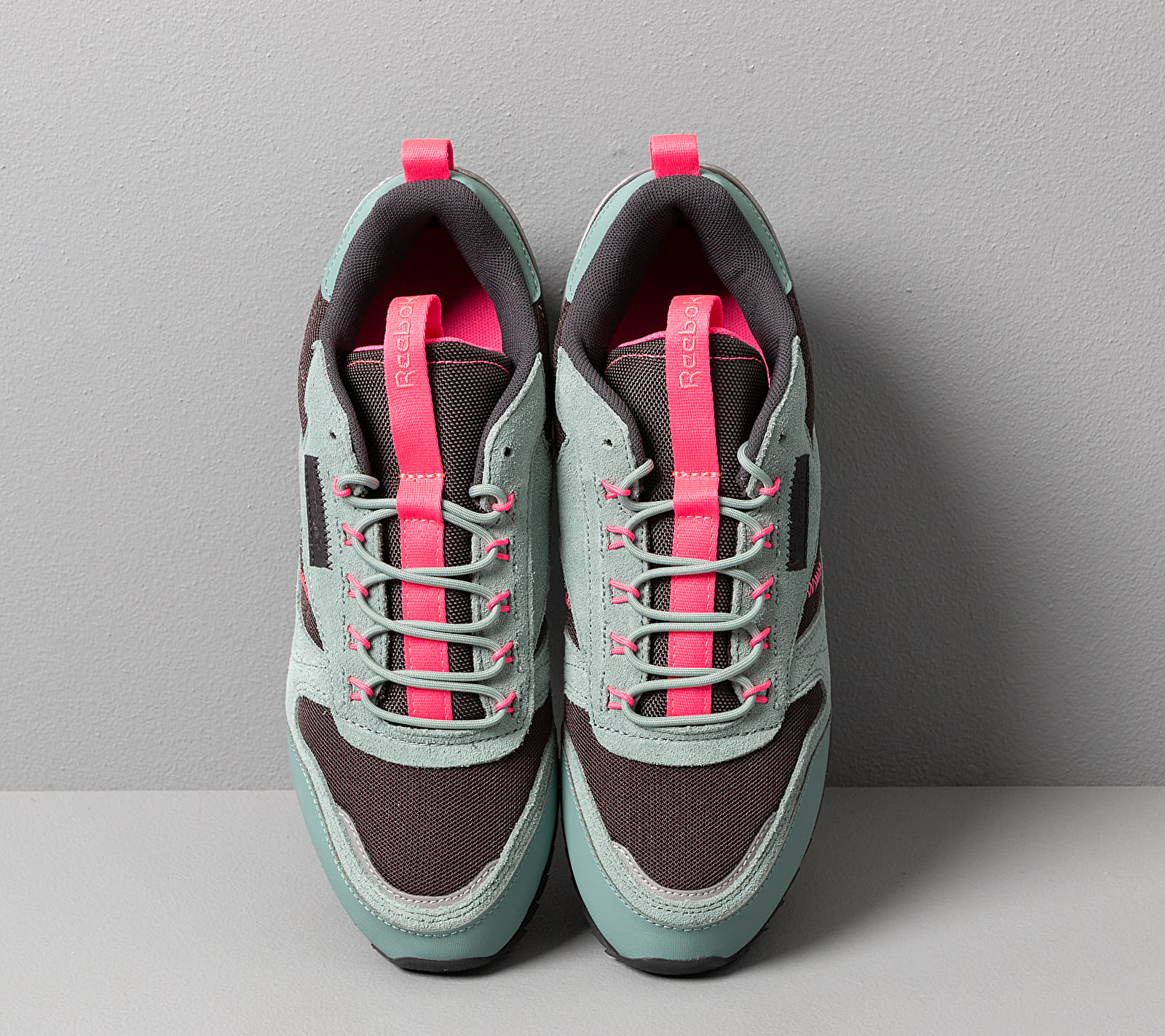 Reebok Classic Leather Ripple Trail Green Slate/ True Grey 8/ Solar Pink