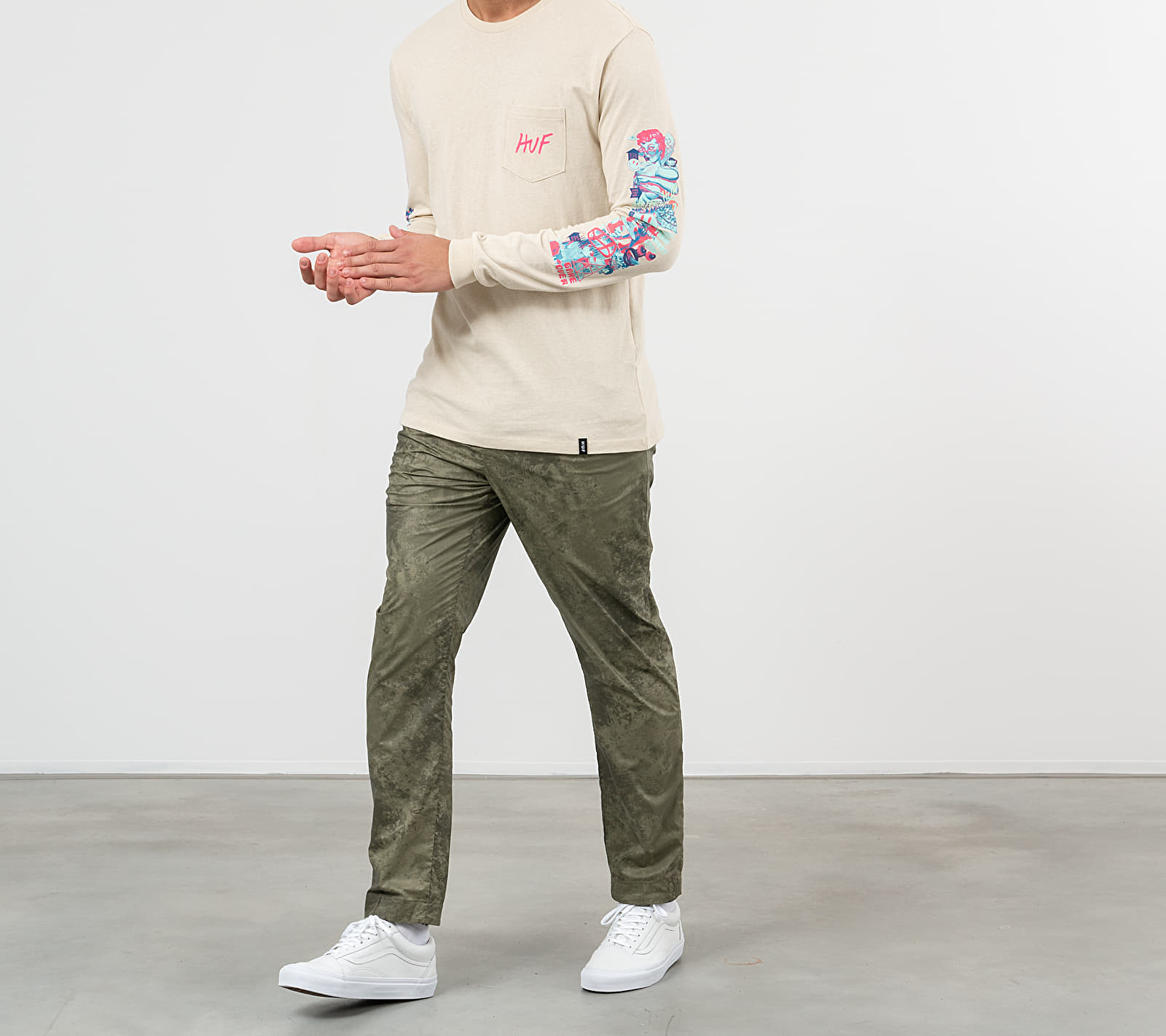 HUF Short Term Pocket Long Sleeve Tee Oystter White, Brown