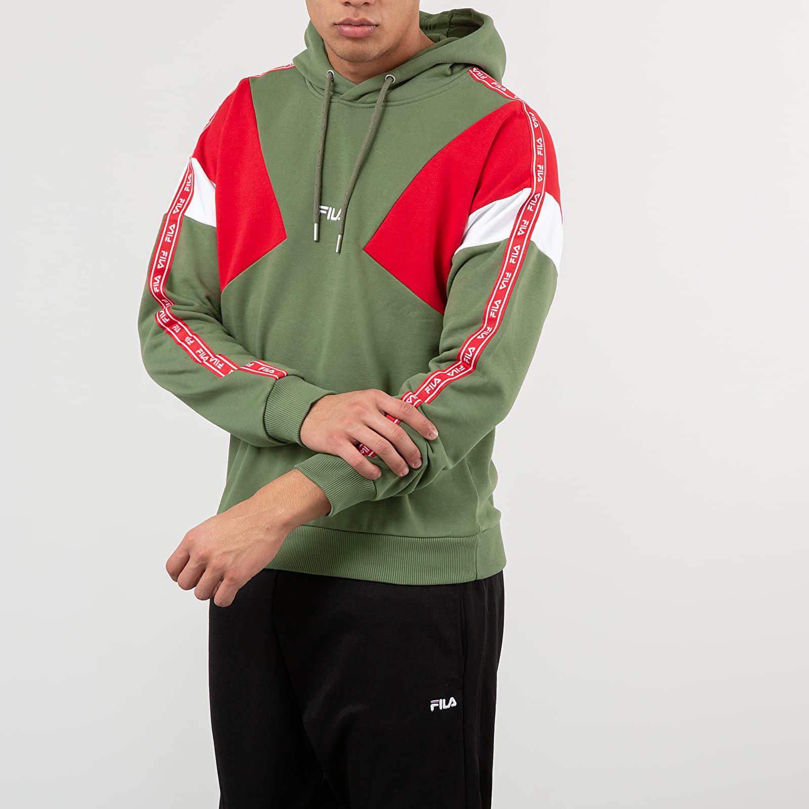 Mikiny a svetry FILA Umar Hoodie Deep Lichen Green/ True Red/ Bright white