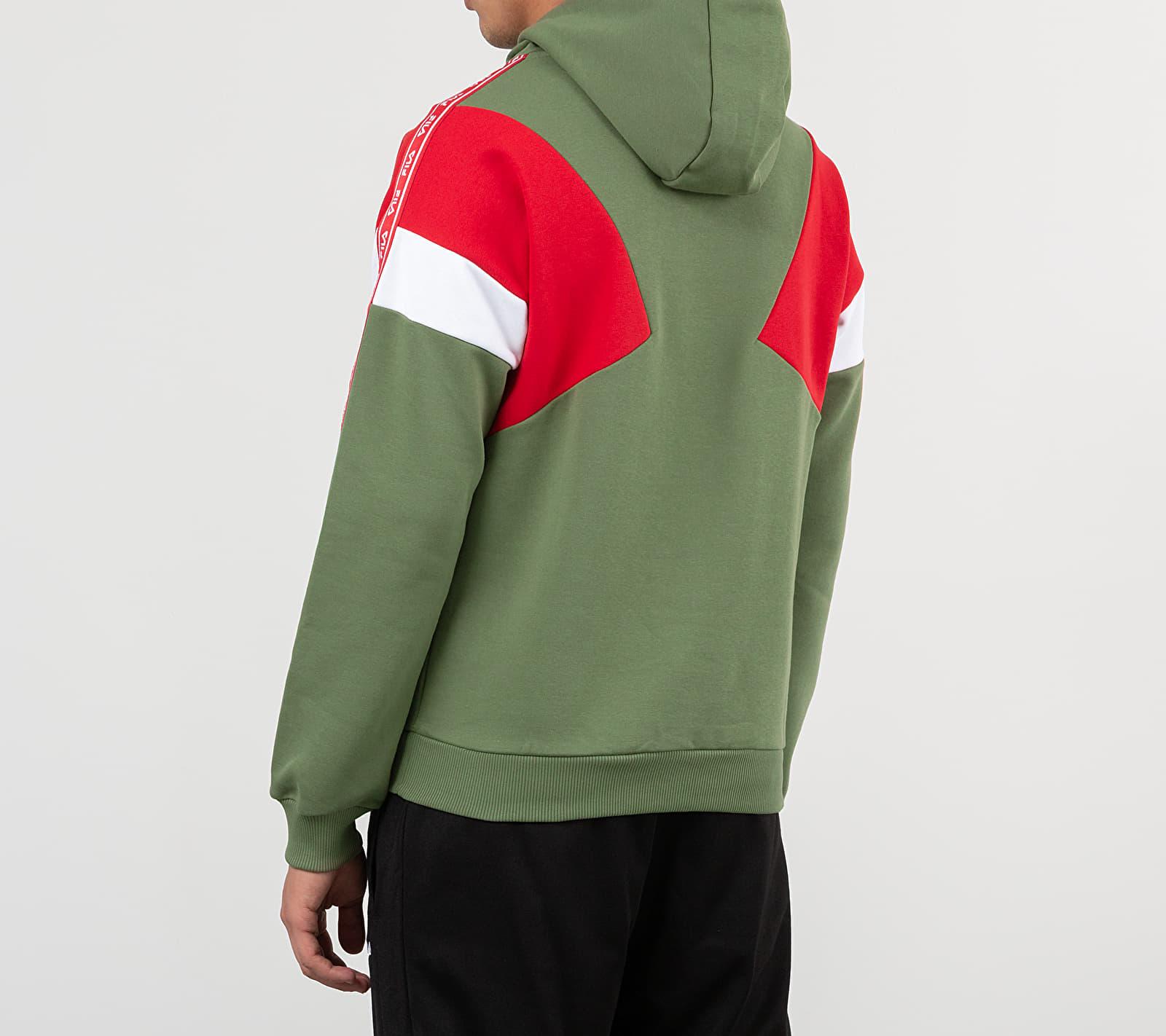 FILA Umar Hoodie Deep Lichen Green/ True Red/ Bright white