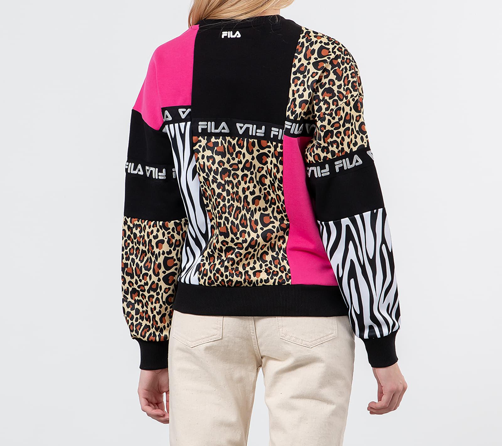 FILA Papina Crewneck Black/ Pink/ Leo, Multicolour