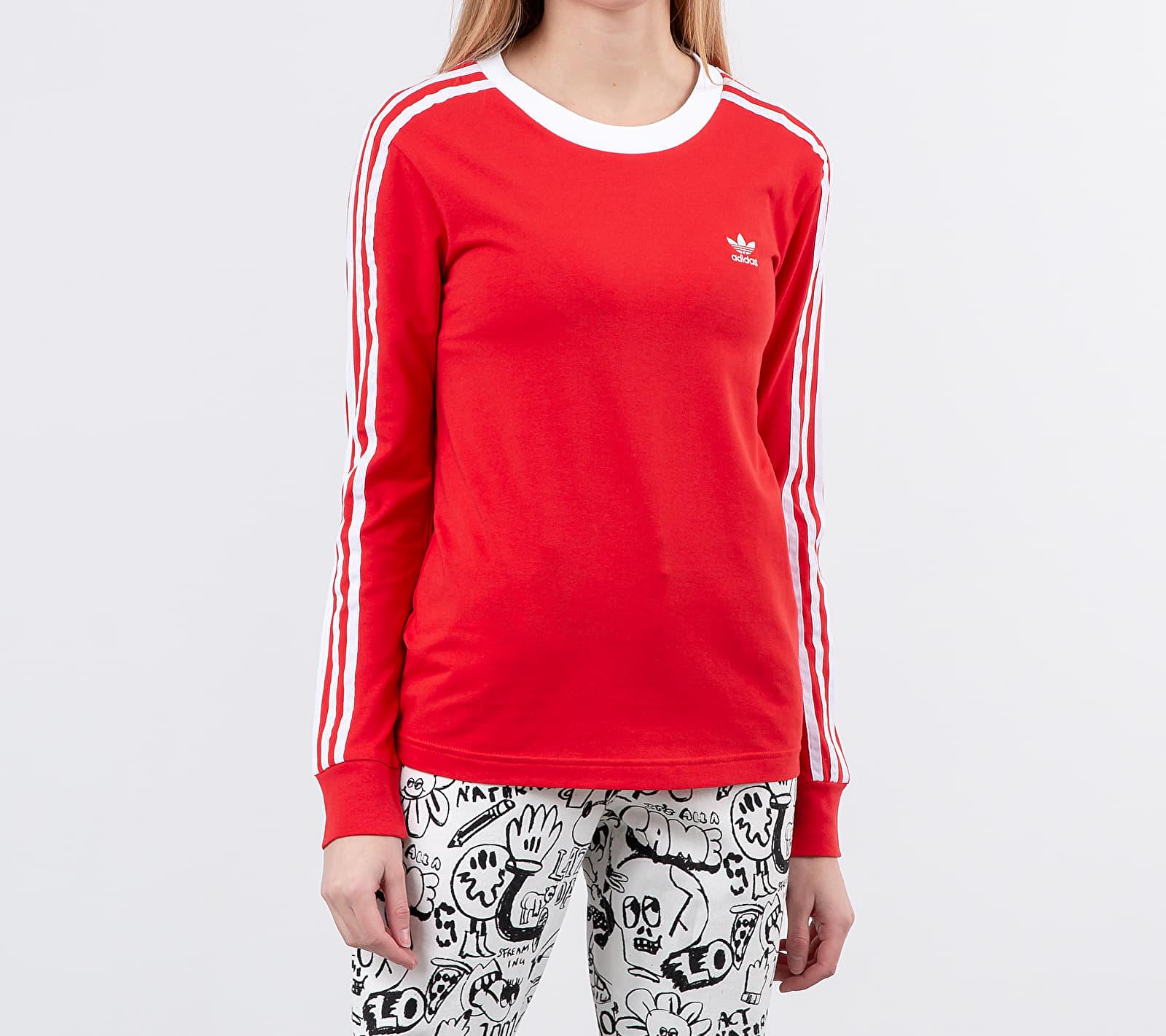 adidas 3 Stripes Longsleeve Tee Lush Red/ White