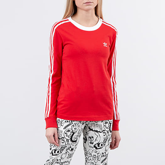 adidas 3 Stripes Long Sleeve Tee Lush Red White