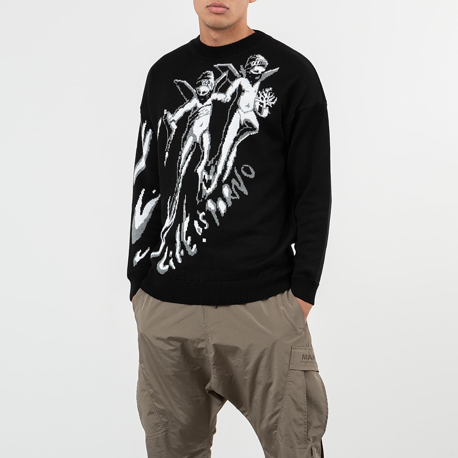 Mikiny a svetry LIFE IS PORNO xxx Footshop Sweater Black