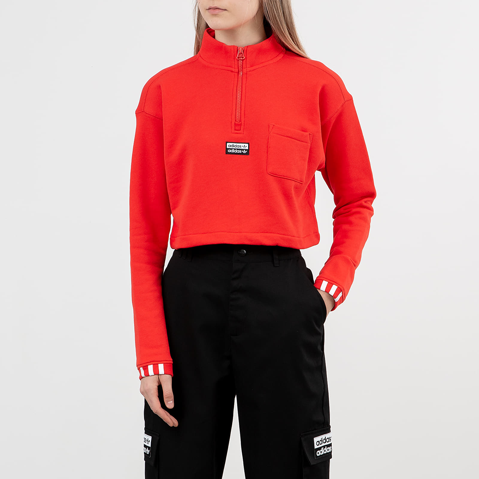 Mikiny a svetry adidas Cropped Sweatshirt Active Red