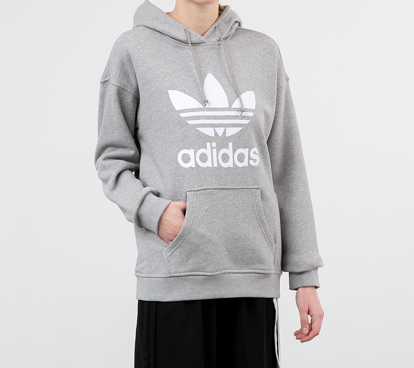 adidas Trefoil Hoodie Medium Grey Heather/ White 40