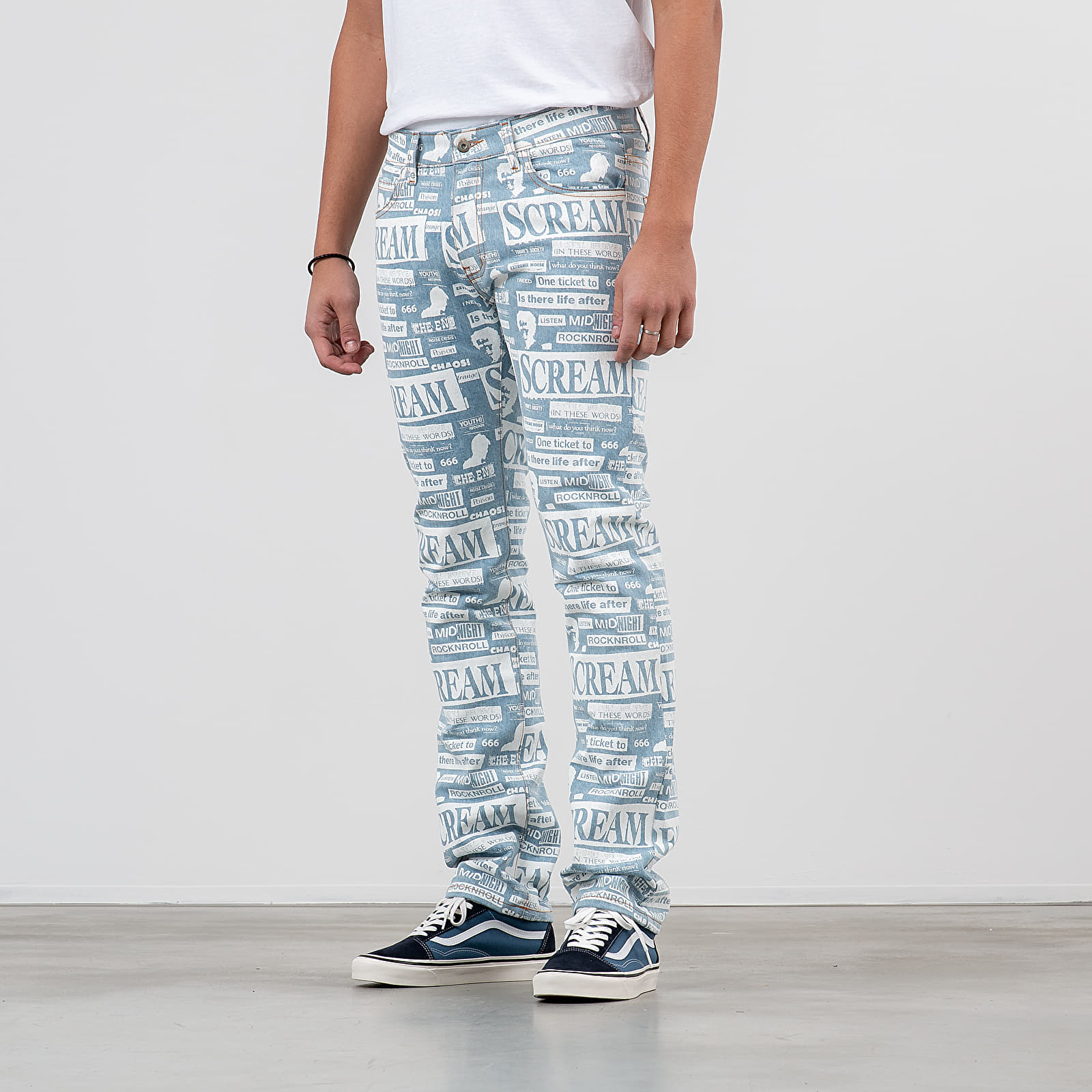 Дънки и панталони Midnight Studios Collage Slim Jeans Blue