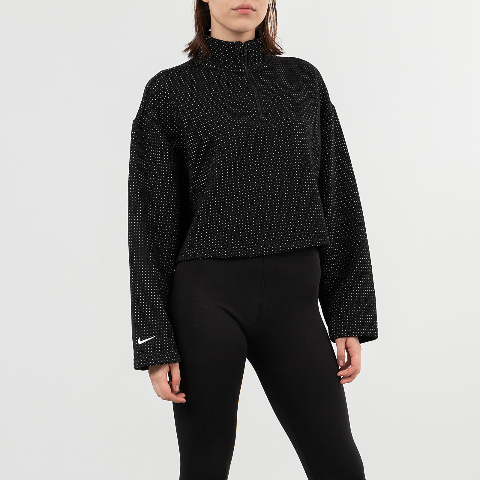 Kapucnis pulcsik Nike Sportswear Tech Fleece Eng Qz Top Black/ White