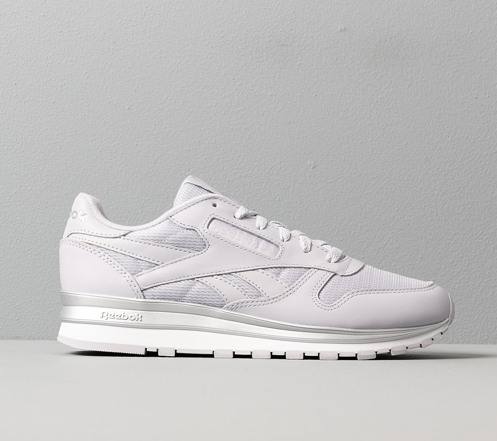 Reebok Classic Leather Sterling Grey/ Silver Metalic/ White, Gray