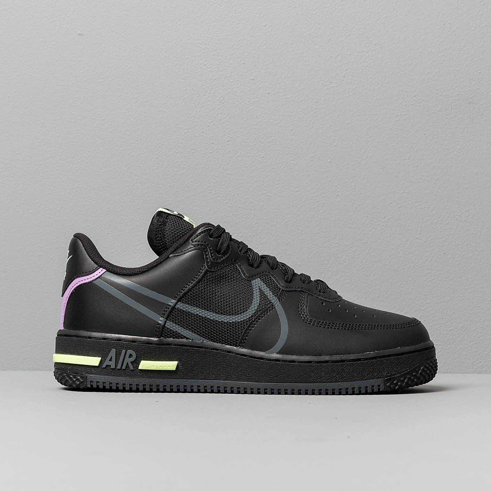Nike Air Force 1 React Black Anthracite Violet Star Barely Volt