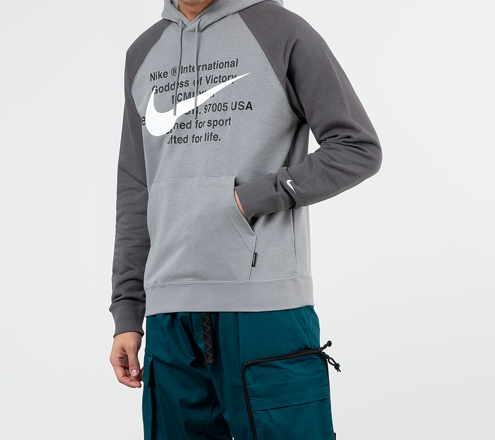 Nike Sportswear Swoosh Pullover FT Hoodie Particle Grey/ Iron Grey/ White, Gray