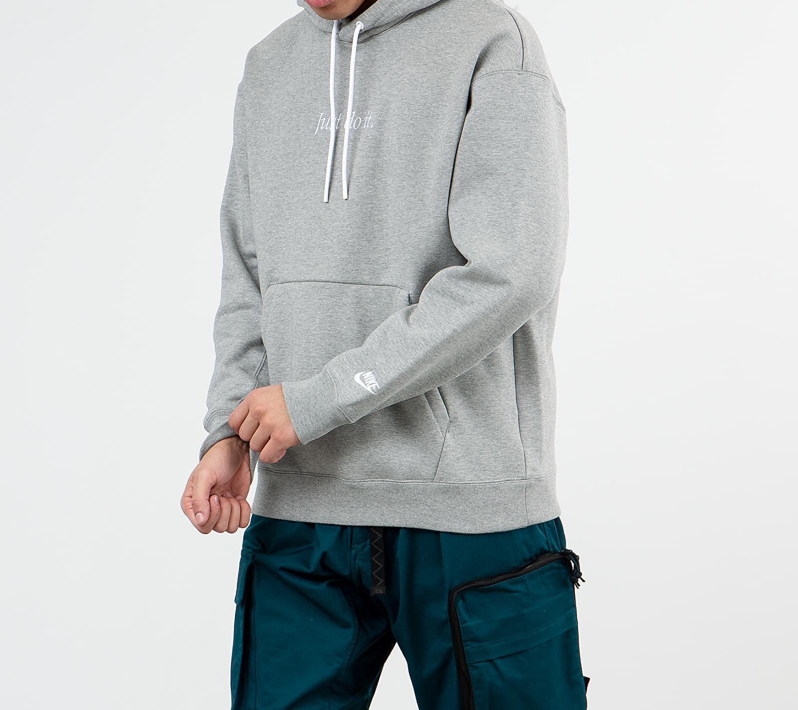 Nike Sportswear Just Do It Pullover Fleece Heavyweight Hoodie Dark Grey Heather/ White, Gray