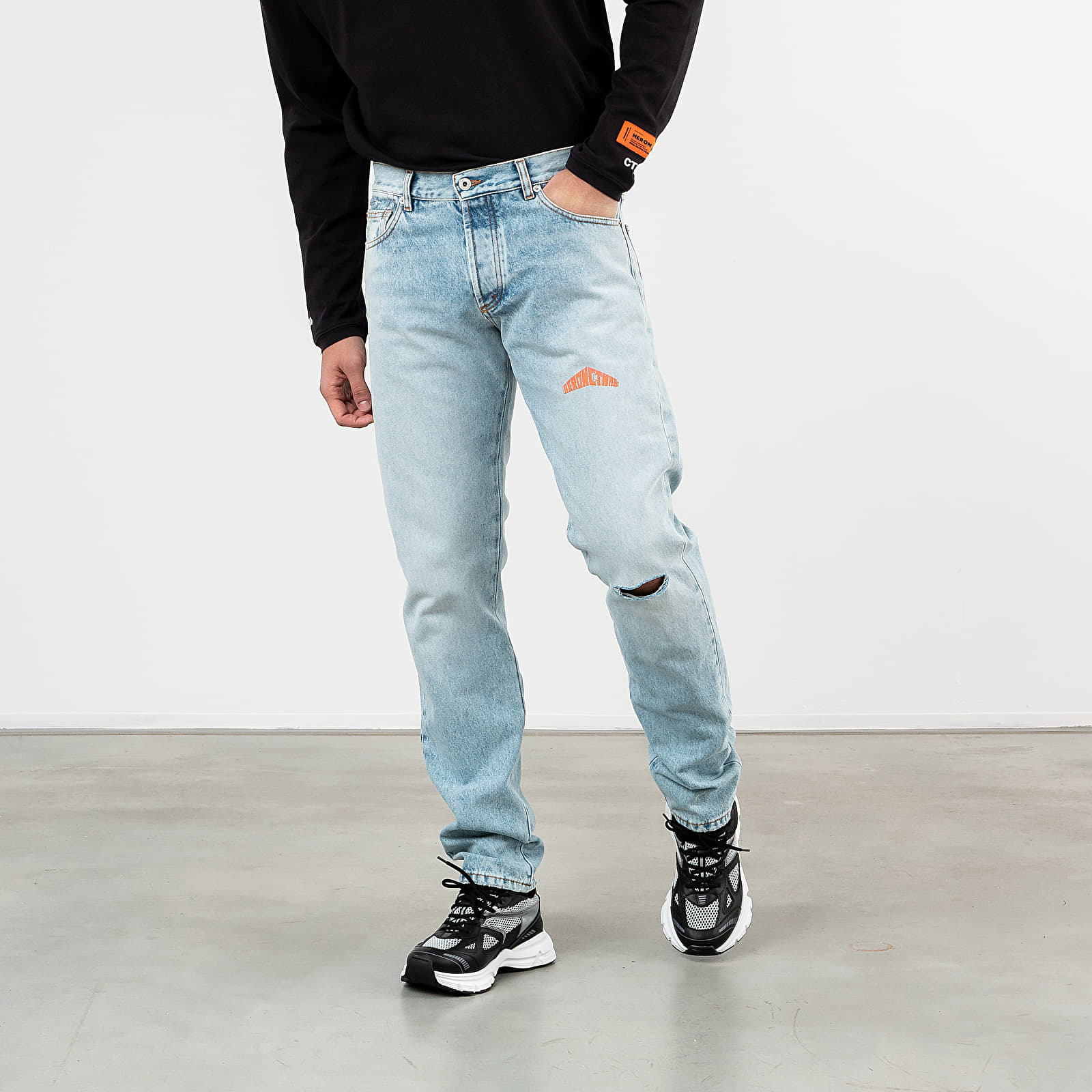 Džínsy a nohavice HERON PRESTON 5 Pockets Denim Pants Vintage Wash Blue