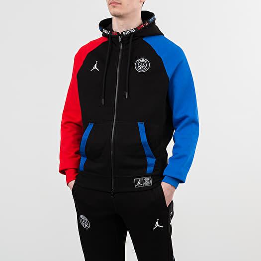 Sweatshirts Jordan Paris Saint Germain Bc Fleece Fullzip Hoodie Black Hyper Cobalt University Red