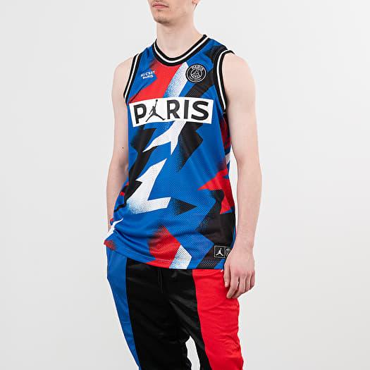 T Shirts Jordan Paris Saint Germain Mesh Jersey Hyper Cobalt Footshop