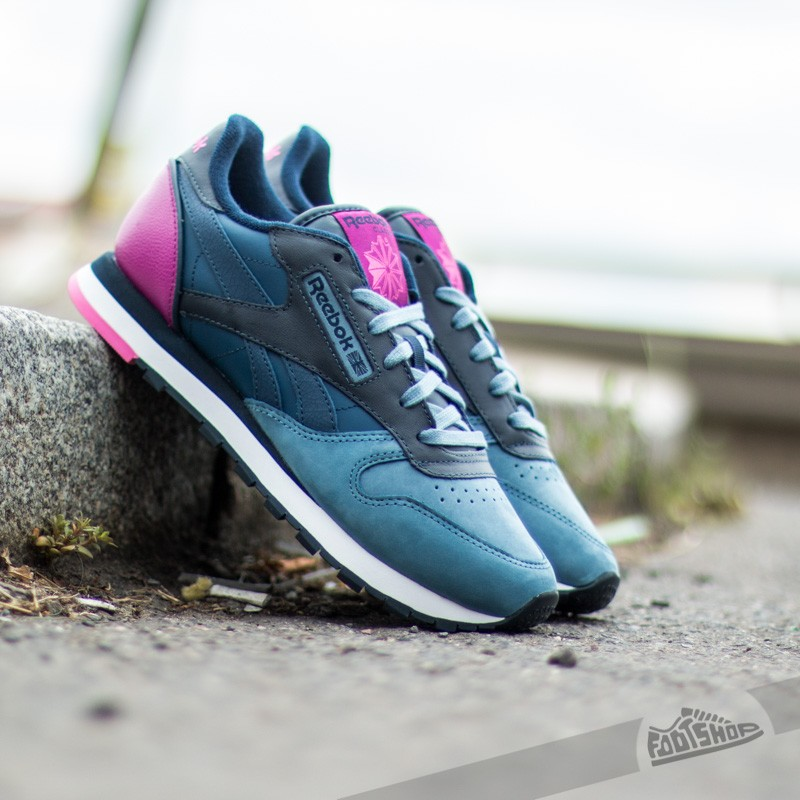 af701a625212a Reebok Classic Leather PM Blue  Fuchsia  Pink
