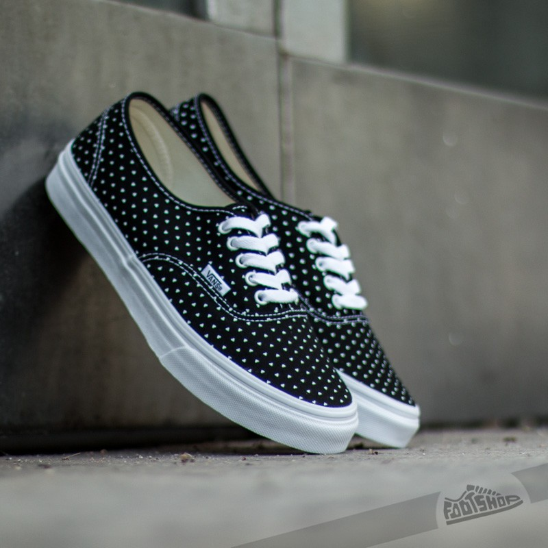 29585699e4e6d5 Vans Authentic Slim Micro Hearts Black  True White