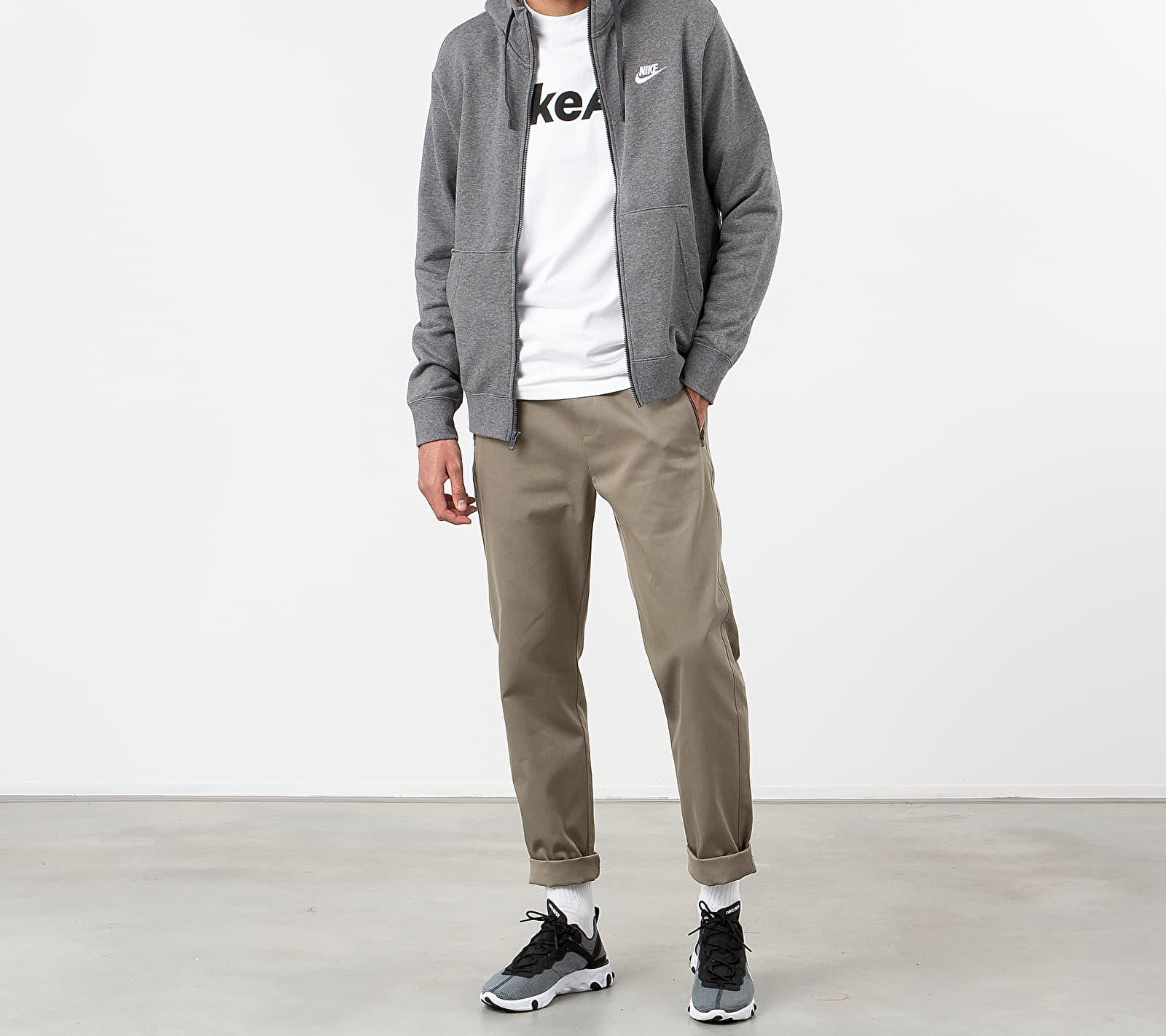 Nike Sportswear Club Fullzip Hoodie Charcoal Heathr/ Anthracite/ White, Gray