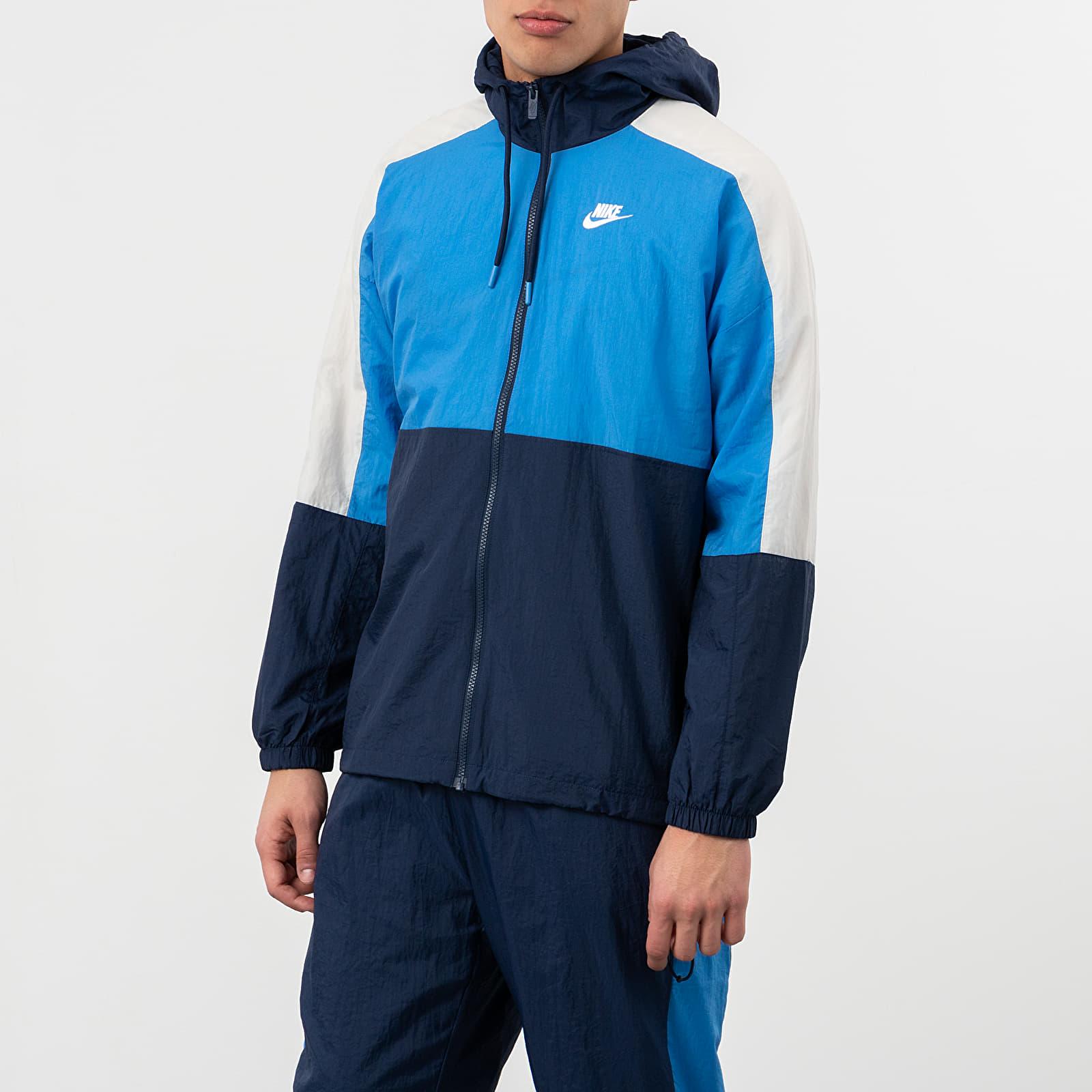 Dzsekik Nike Sportswear Hooded Woven CB Jacket Midnight Navy/ Pacific Blue/ White