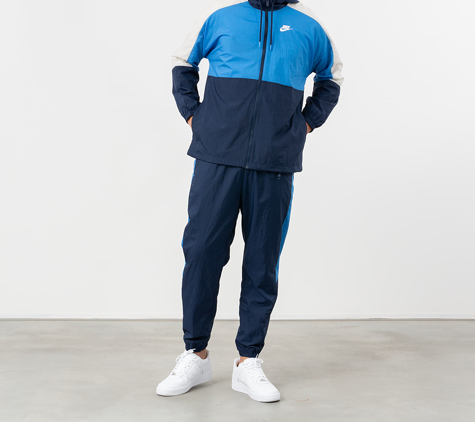 Nike Sportswear Hooded Woven CB Jacket Midnight Navy/ Pacific Blue/ White