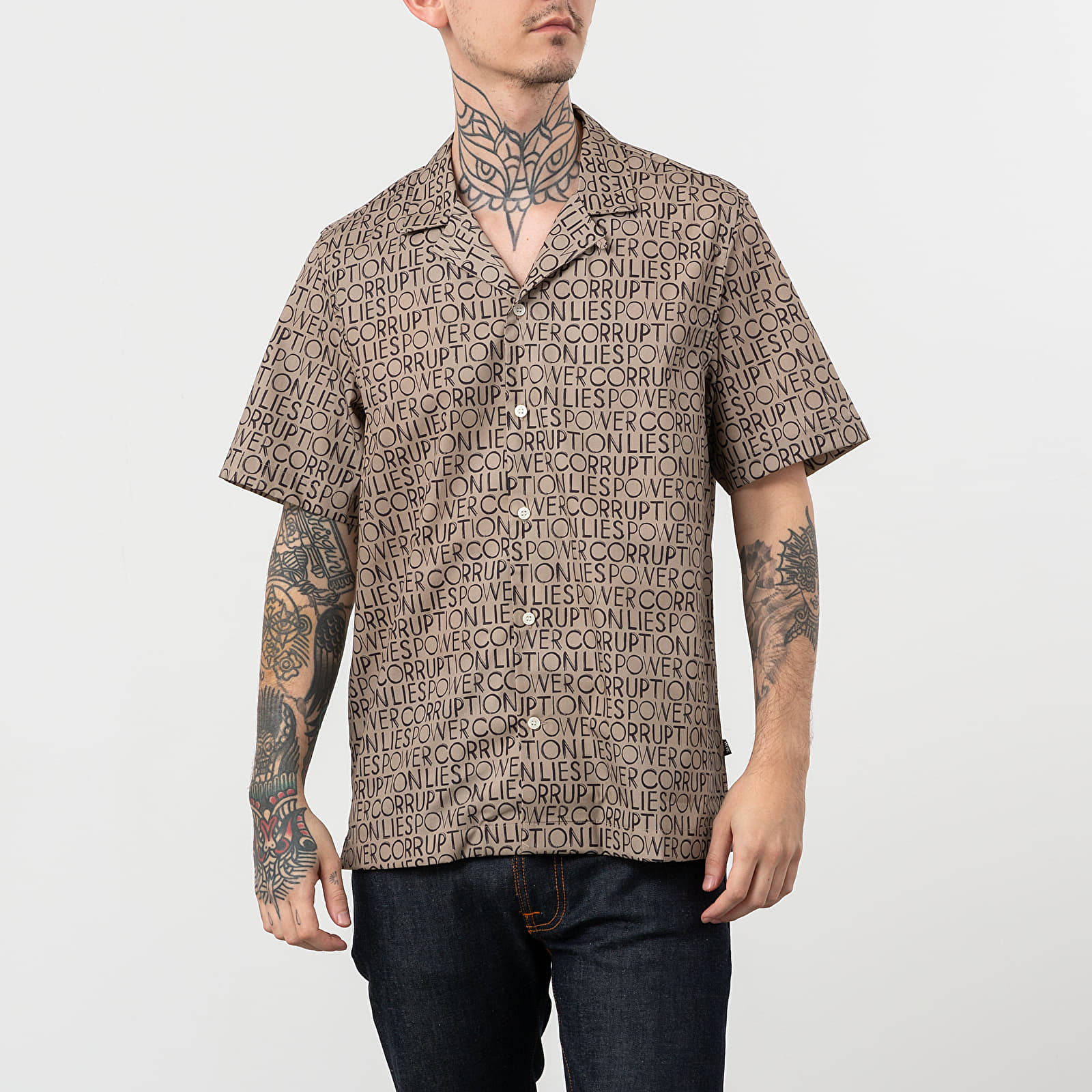 Camice a maniche corte Wood Wood Brandon Shirt Taupe Aop
