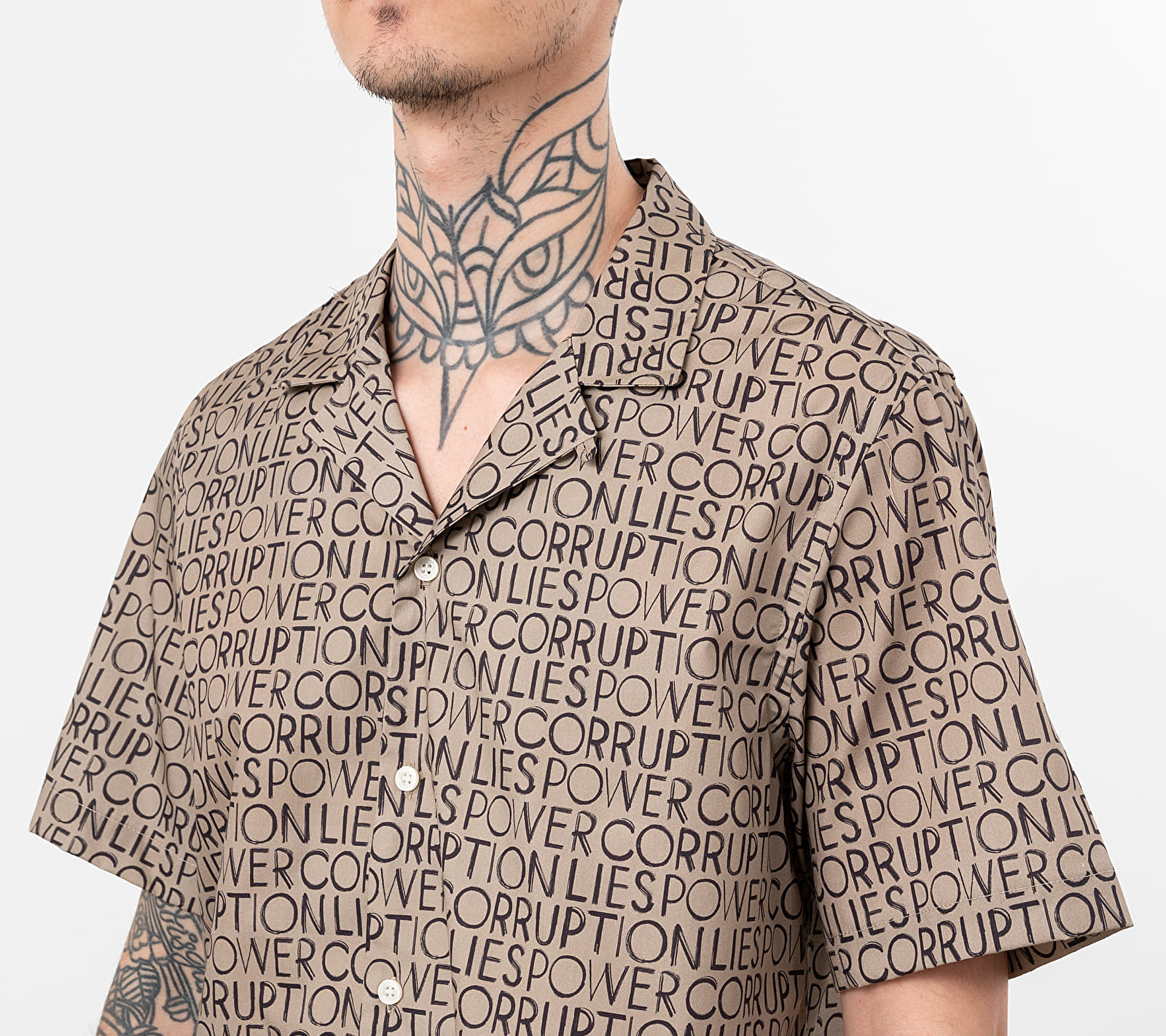 Wood Wood Brandon Shirt Taupe Aop, Blue