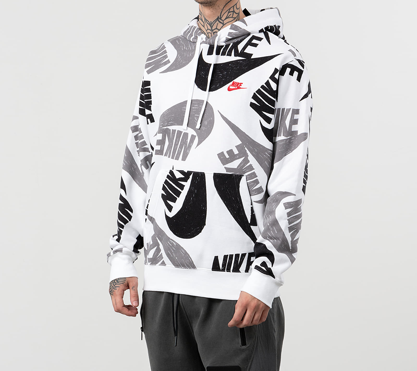 Nike Sportswear Club BB AOP 1 Hoodie Black/ White/ University Red