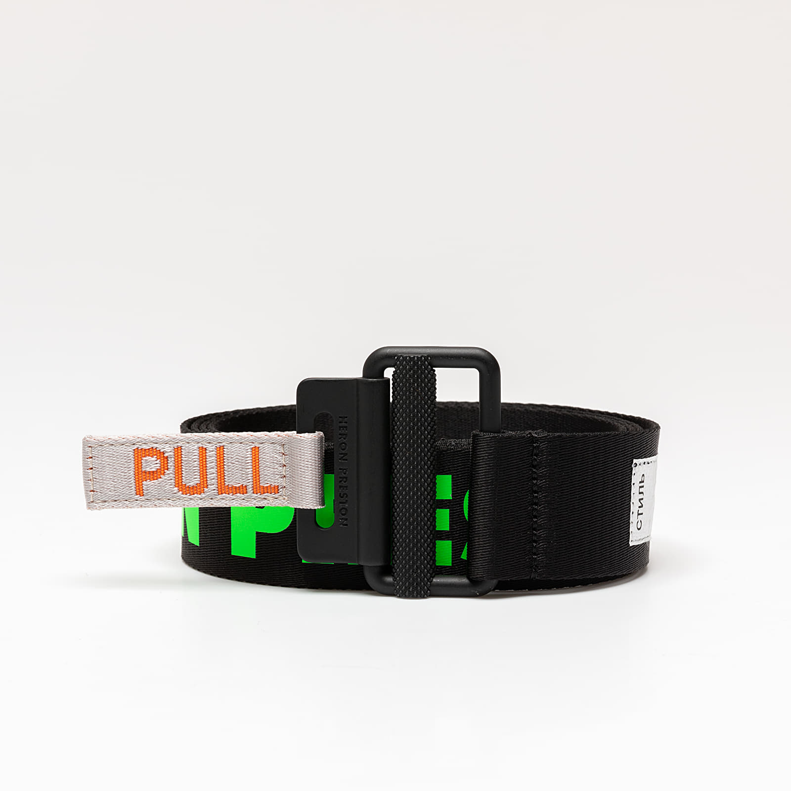 Belts HERON PRESTON Coloured Logo Tape Belt Black/ Green