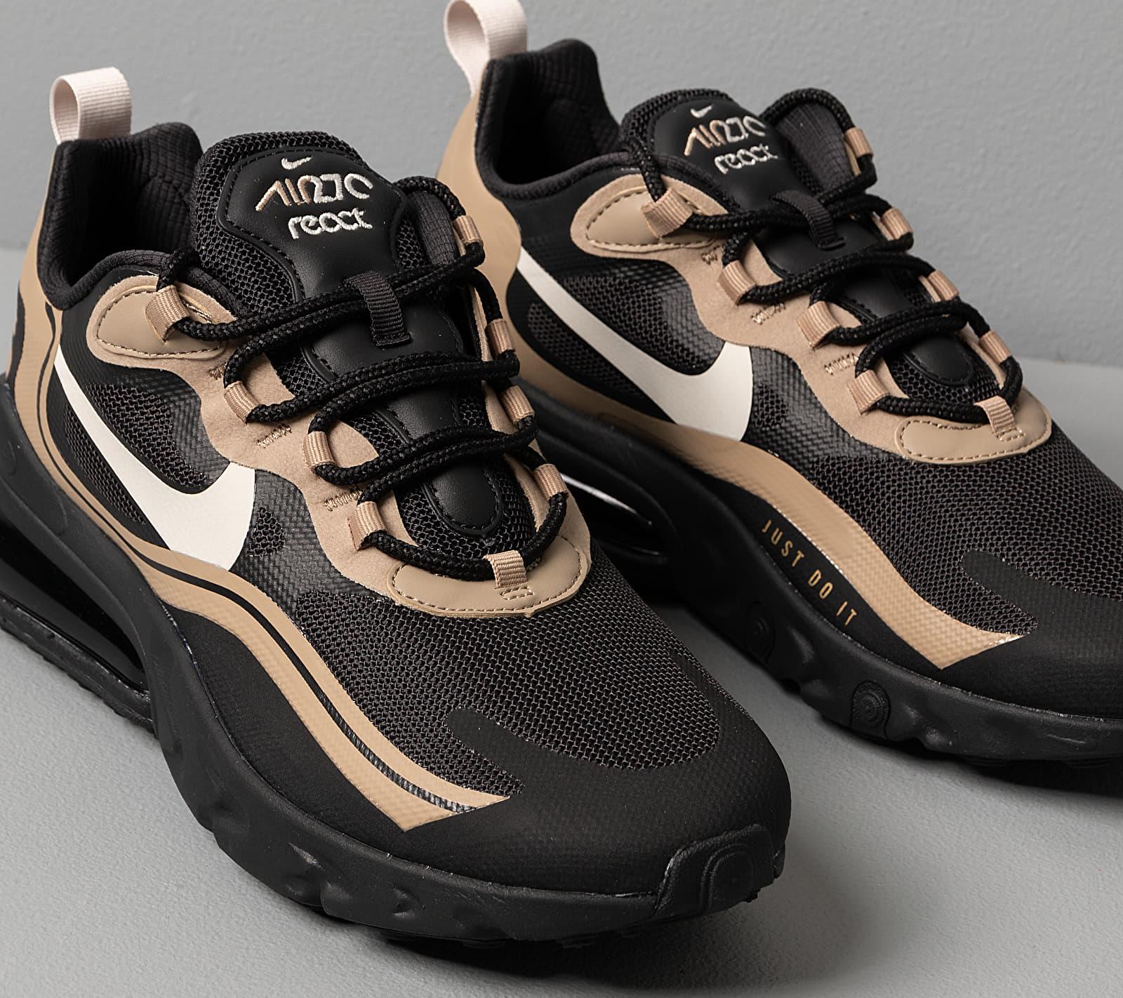 Nike Air Max 270 React Black Light Bone Khaki Metallic Gold