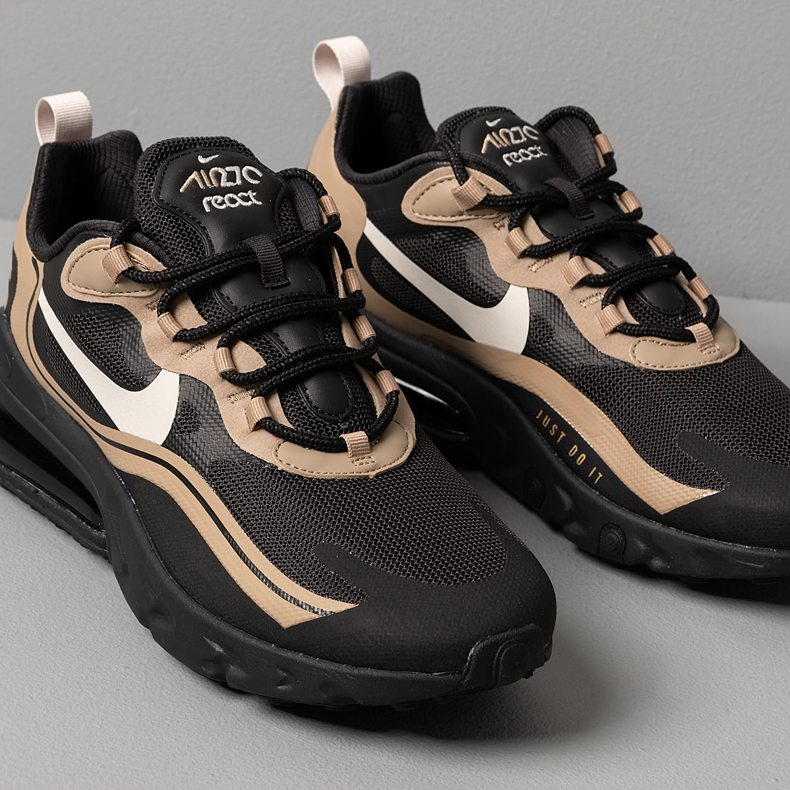 Nike Air Max 270 React Black Light Bone Khaki Metallic Gold | Footshop
