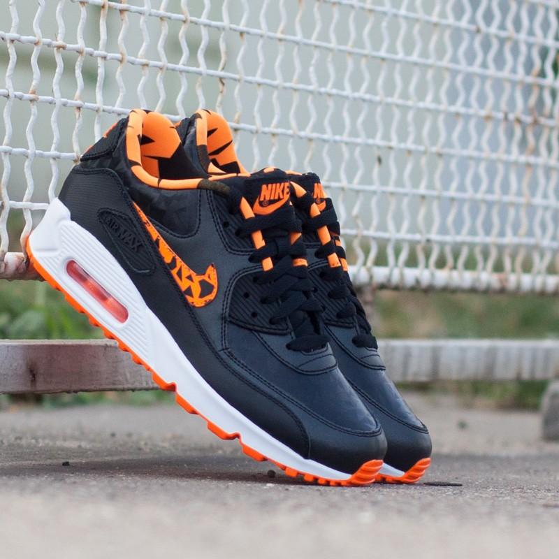 chaussures de sport 9c7c9 c0367 Nike Air Max 90 FB (GS) Black/Total Orange   Footshop