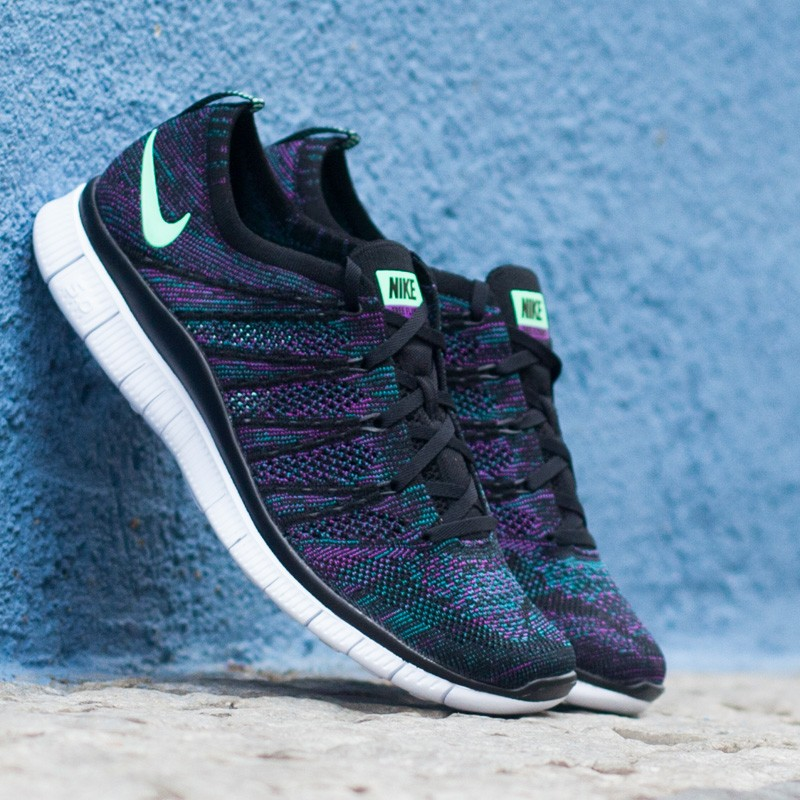 d4dad421bd2eb Nike Free Flyknit NSW Black Green Glow Radiant Emerald Vivid Purple