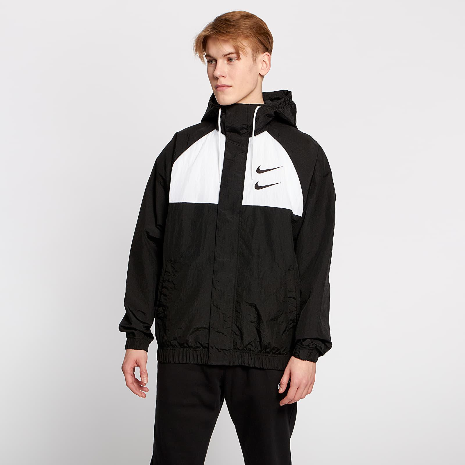 Nike Sportswear Swoosh Hooded Woven Jacket Black White Particle Grey Black | Footshop