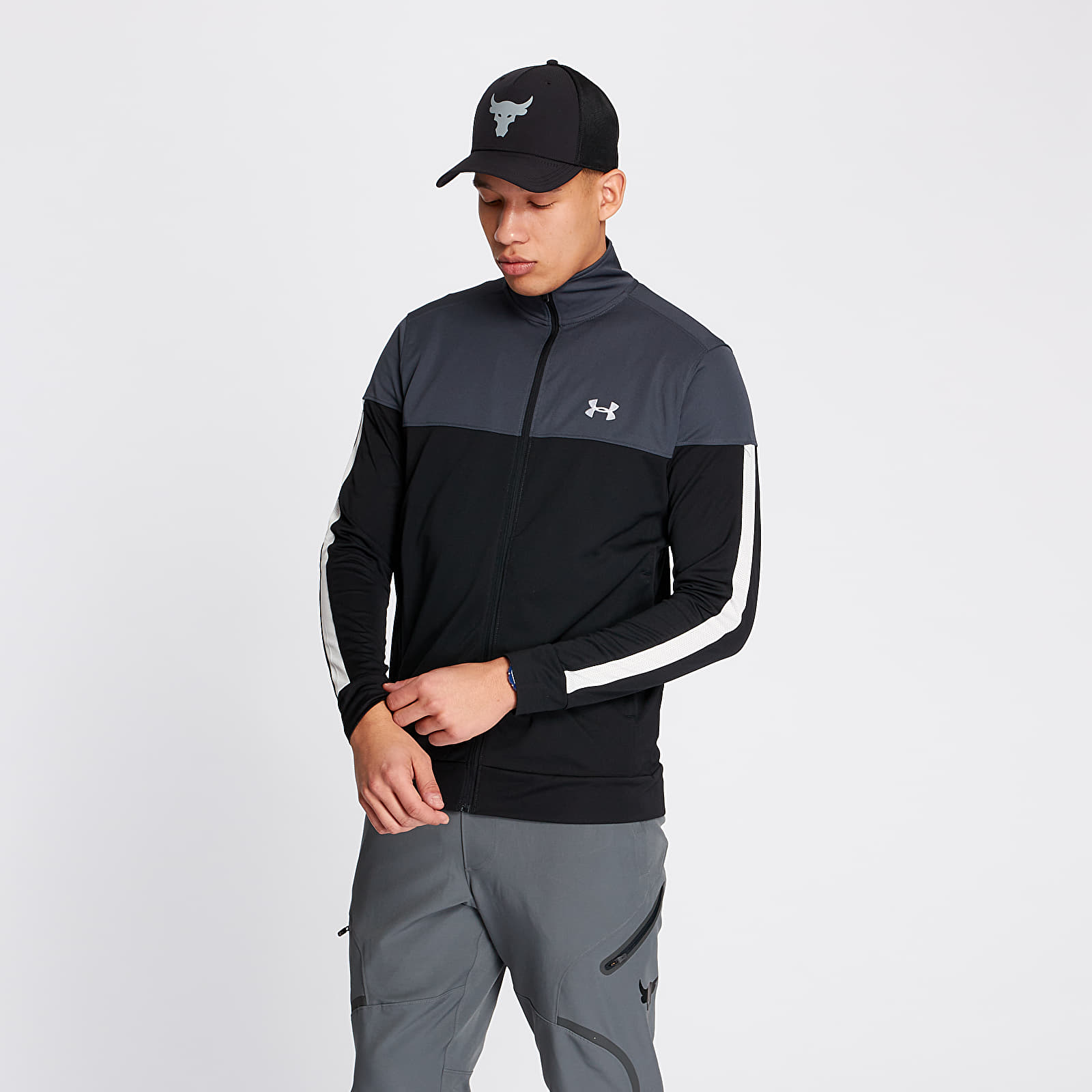 Dzsekik Under Armour Sportstyle Pique Track Jacket Stealth Gray/ White