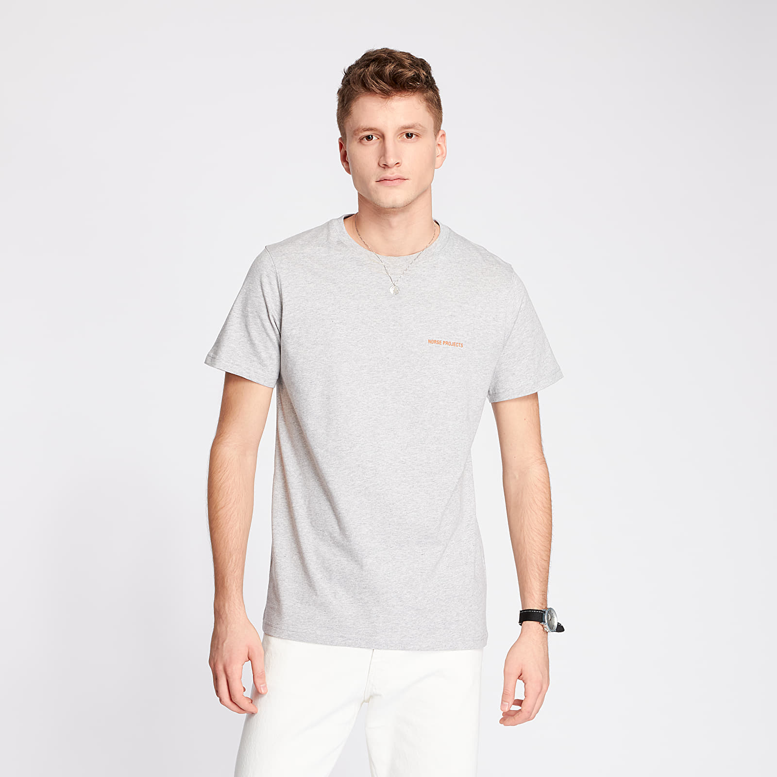 T-shirts Norse Projects Niels Norse Projects Logo Tee Light Grey Melange